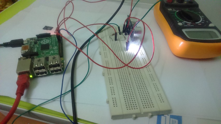 Using Raspberry PI B+ for automated distance measurement and alert with LED for a driver alert system