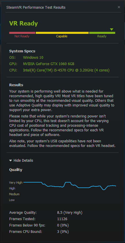 GTX 1060 & i5-4570 Steam VR performance test